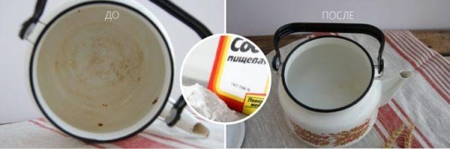 опочистить чайник от накипи с помощью соды