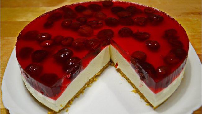вишнёвый торт без выпечки с творожным сыром