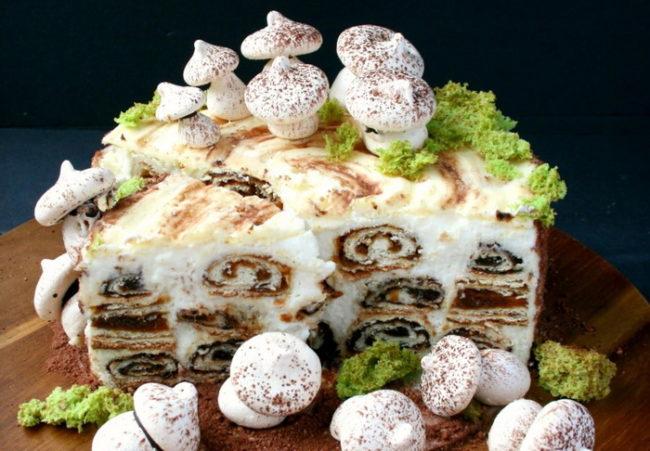 """Классический кулинарный рецепт торта """"Трухлявый пень"""" с черносливом и курагой"""