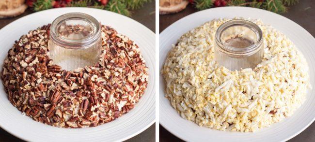 Рецепт салата Гранатовый браслет с грецкими орехами и курицей