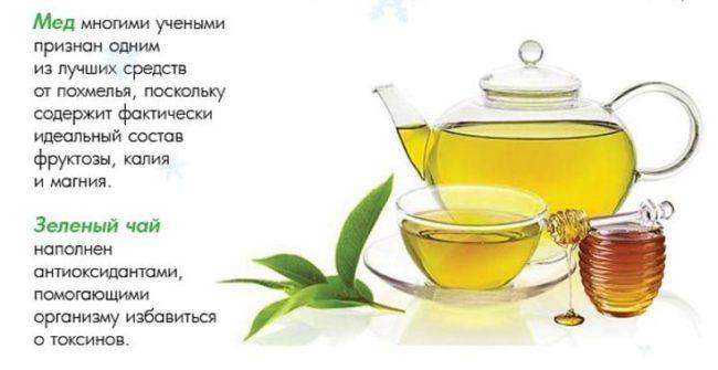 лучше всего от похмелья помогает зеленый чай