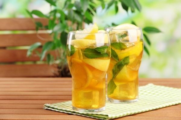 холодный зелёный чай с лимоном и мятой