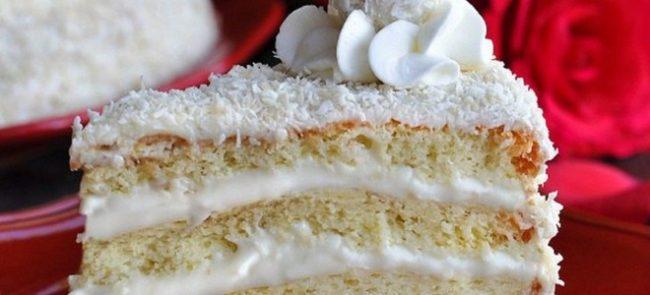 Готовый кокосовый торт