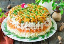 Салаты с грибами - лучшие праздничные рецепты