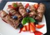 шоколадные блины с творожно-ванильной начинкой в глазури