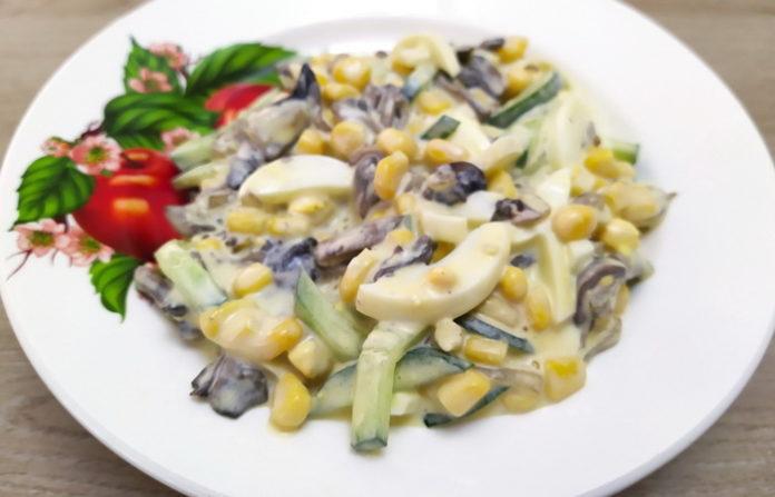 Праздничный салат с шампиньонами - рецепт, видео