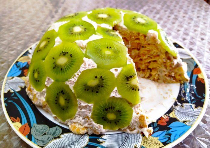 Нежный бананвый торт с киви за 15 минут без выпечки