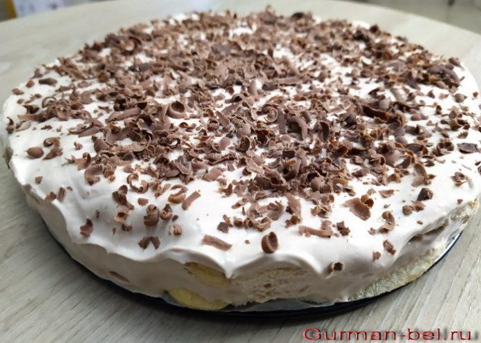 Торт без выпечки с вкусом капучино - рецепт